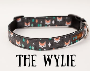 Fox Dark Gray Dog Collar, boy dog collar, girl dog collar, dog collar, dog lover, collar, fox