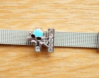 busy letter N alphabet blue skull bead for bracelet