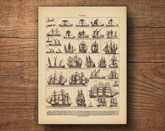 Sailboat Print on Canvas – Nautical Wall Art, Clipper Ship Print, Old Ship Print, Coastal Art, Vintage Art, Canvas Print, Nautical Prints