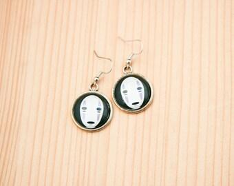 Faceless god round earrings glass picture art present gift idea christmas birthday anime ghibli