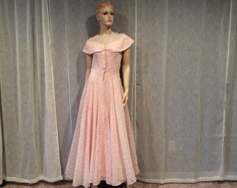 Vintage Sheer Pink and White Cotton Organdy Full Length Bridesmaid Prom  Dress with Pink Slip, Pretty in Pink Dress, Vintage Clothing