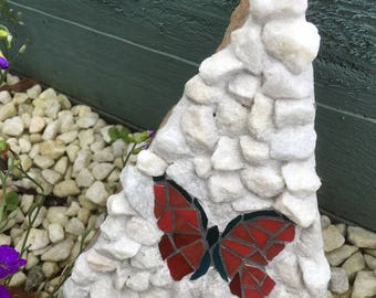 Red Butterfly Mosaic Garden Art