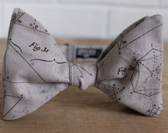 Grey Math Bow Tie - bowtie, bow ties, bowties, equations, fun, cool, mens, boys, pretied, self tie, gray, geeky, geek, hipster