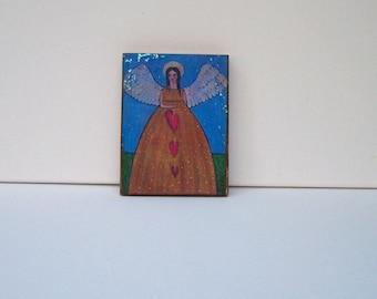 "Folk Art Angel Woodblock print painting Encaustic 3.5"" x 5"""