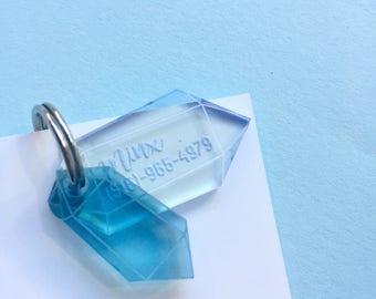 Médaillon pour chat Cristaux quartz - médaille d'identification - pierres précieuses diamant bijou cristal quartz - bleu clair