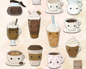 Kawaii Coffee Clipart Set, coffee clip art, cafe clip art, kawaii clipart, cute coffee art, clipart, commercial use with Instant Download