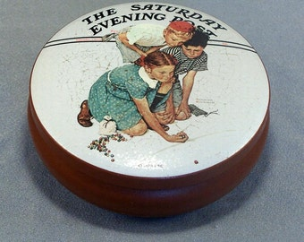 Vintage Collectible Tin // The Saturday Evening Post // Marbles Champion // Norman Rockwell