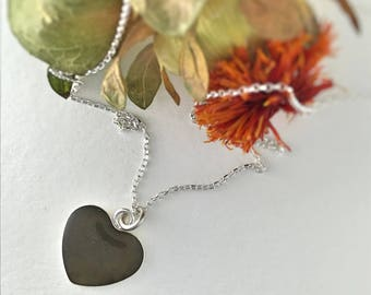 Custom Memorial Jewelry, Cremation Jewelry, heart necklace, Sterling Silver Pet Ashes Jewelry