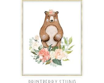 Woodland Bear Print, Girls Nursery Wall Art, Woodland Animals Nursery Decor, Blush Nursery Art, Coral Nursery Art, Printable Nursery Art