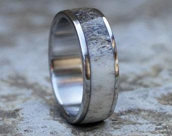 Deer Antler Ring, Wedding Ring, Stainless Steel Ring
