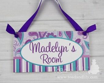 Pretty Purple and Turquoise Paisley Girls Bedroom Baby Nursery Kids Bedroom DOOR SIGN Wall Art DS0092