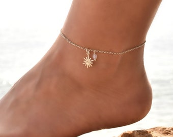 Moonstone Anklet Sterling Silver, Anklet, Delicate Anklet bracelet, Dainty Anklet Silver, Anklet for Women, Ankle Jewelry, Ankle Chain Charm