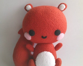 Red Squirrel, Cute Stuffed Animal, Woodland Animal, Kawaii Squirrel, Gift for Her