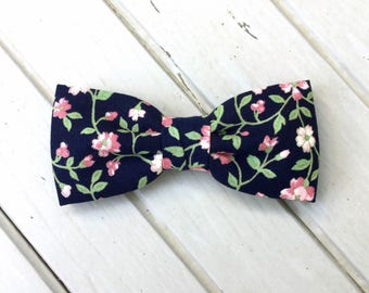 Navy Blue Floral, Pink Floral Bow Tie, Summer Bow Tie, Spring Bow Tie, Bow Tie for Wedding, Groomsmen and Groom Bow Tie, Mens & Kid Bow Tie
