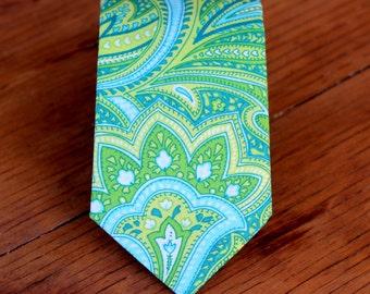 Mens Green Necktie - blue green paisley cotton neck tie - wedding tie - groomsmens neckties - ties for men - prom necktie - fathers day gift