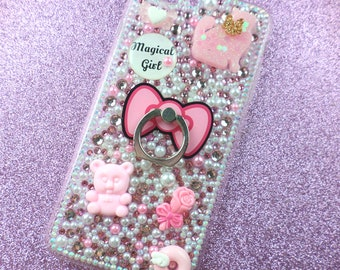 Magical Girl Inspired Rhinestone Phone Case for Iphone 7Plus Pink Pastel Fairy Kei