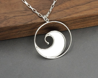 Rip Curl Wave Necklace - 925 Sterling Silver wave Jewelry for women, surf jewelry, ocean jewelry, wave pendant
