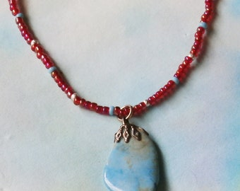 Dainty Seed Bead Choker Necklace, Red and Turquoise with Gemstone Pendant