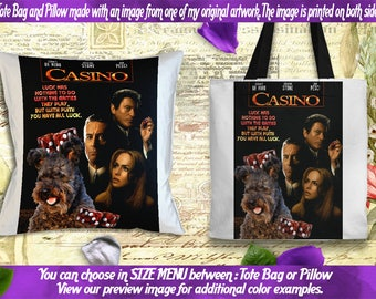 Pumi Pillow or Tote Bag/Pumi Art/Pumi Portrait/Dog Tote Bag/Dog Pillow/Dog Art/Custom Dog Portrait/Casino Movie Poster