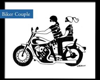 Personalized Silhouette Biker Couple