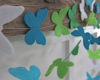 Felt Butterfly Party Garland Decoration - Turquoise/Green