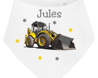 Personalized with name backhoe baby bandana bib