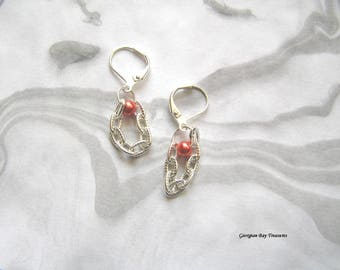 So Pretty Chain and Pearl Bead Dangle Earrings original design bright silver tone gift for her, GBT322