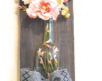 Wine bottle floral wall hanger