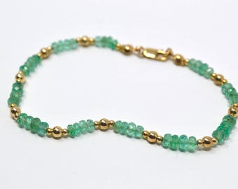 Vintage Colombian Emerald 14k Yellow Gold Bead Bracelet - Lobster Claw - Seed - 6.75 in - 503645232