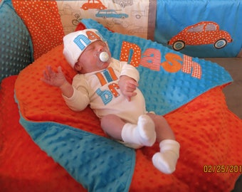 Personalized baby boy coming home outfit - minky blanket, bodysuit or gown & hat - photo prop - hospital outfit - shower gift - applique