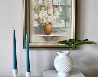 floral oil painting, framed vintage original art,vintage original art, floral art painting, gallery wall art, farm house art