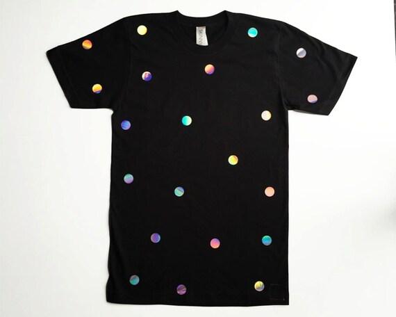 Iridescent Hologram Polka Dot Shimmer Tee Shirt Top QeGjj