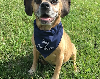 Big Brother Navy Blue Dog Bandana - Over the Collar Style - Makes a Great Gift