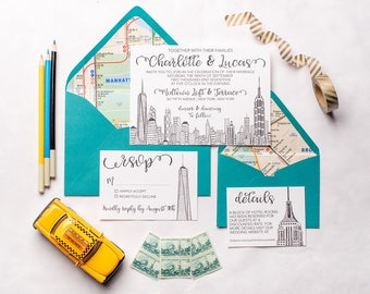 NYC Skyline Wedding Invitation Suite | Empire State Building, Freedom Tower, World Trade Center, New York City Wedding Invite