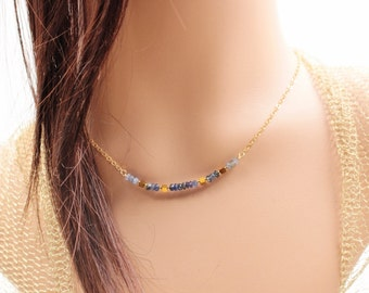 Blue Sapphire Bar Necklace - Blue Shaded Sapphire Gemstone Necklace - September Birthstone - Blue Sapphire Gold-Filled Minimalist Jewelry.