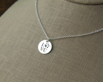 Love paw print disc charm necklace in sterling silver, paw charm, cat paw, dog paw, heart charm, cat jewelry, dog jewelry, pets