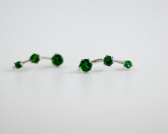 May Birthstone Emerald Ear Climbers Sterling Silver