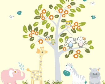 Flower Tree Wall Decal, Jungle Wall Decal, Tree Decal, Kids Tree Wall Decal, REUSABLE Wall Decal 1000P3