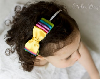 Rainbow Bow Clip OR Headband - Flower Girl Headband - Baby Bow - Girls Satin Bow - Bun Hair Bow - Baby to Adult Headband