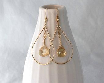 Unique gold teardrop earrings