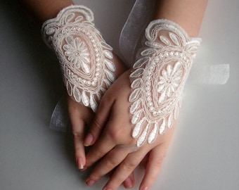 Wedding gloves ivory bridal gloves, Women's Lace Gloves Fingerless Lace Ivory Gloves, ivory bridal gloves