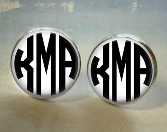 Personalized Custom Monogram Earrings -12mm Silver Button Stud Earrings