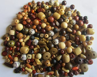 50 Mixed Lot Wooden Beads - Wood Beads - Assorted sizes, colors and shapes - Jewelry Making-Grab Bag