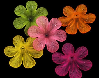 Large Flower Beads Acrylic Flower Beads Assorted Beads Frosted Beads Acrylic Beads Bulk Beads Wholesale Beads 24 pieces