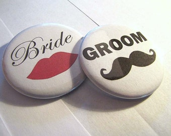 Bride and Groom 2 1/4 inch Pin Back Buttons Set of 2