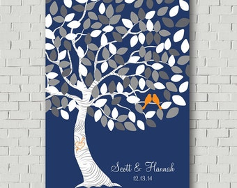 Wedding Guest Book Sign - Wedding Gift - Navy Guest Book - Wedding Signs - Wedding Canvas - Guest Book Tree Wedding Tree - Wedding Keepsake