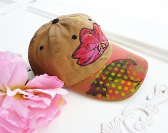 Hand painted baseball cap, artsy hat, cotton, OOAK, hiking hat, beach hat, wearable art hat, upcycled, streetwear, pink flower, crow, raven