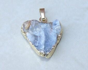 Galaxy Stone, Druzy Triangle Pendant, Quartz Druzy Pendant.  Agate Druzy Quartz Pendant - 25mm x 25mm - 159