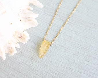 Small citrine quartz necklace - Tiny Citrine crystal necklace - Small yellow crystal necklace - Little citrine November birthstone necklace