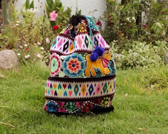 Big Peruvian BackPack Bag Colorful Visionary Cusco Sacred Medicine Bag Neon Tribal Tote Embroidered Boho Flowers